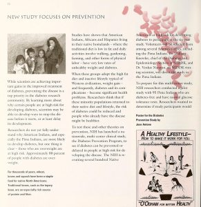 A page from a pamphlet with heading New Study Focuses on Prevention.