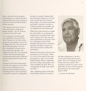 A page from a pamphlet with a photograph of a Native American Man.