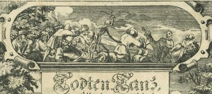 A detail of a copperplate engraved titlepage with a scene of death.
