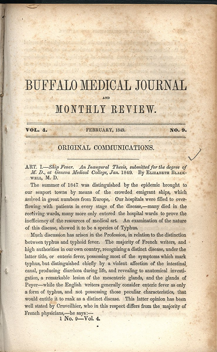Page 523 of the Buffalo Medical Journal and Monthly Review featuring the article Ship Fever. An Inaugural Thesis, submitted for the degree of M.D., at Geneva Medical College, January 1849 by Elizabeth Blackwell.