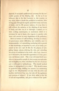 Page 27 of Charles A. Lee's Valedictory Address to the Graduating Class of Geneva Medical College featuring his comments on Elizabeth Blackwell receiving her medical degree.