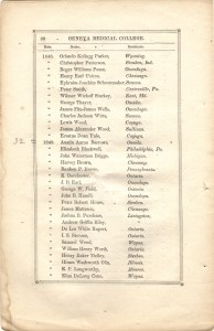 Page 30 of Circular of the Medical Institution of Geneva College listing the graduates of the institution for 1848 and 1849 which includes Elizabeth Blackwell.
