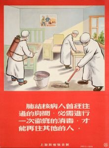Three people in long white coats with masks over their mouths are cleaning and disinfecting a room. The window is open and sunshine is pouring in.