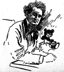 A line drawing of a man with a pen and ink bottle and a toy bear.