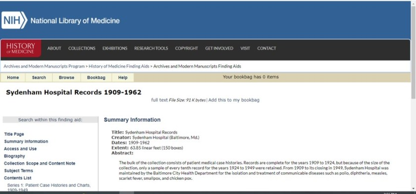 Screen capture of the online finding aid for the Sydenham Hospital Records collection at the National Library of Medicine.