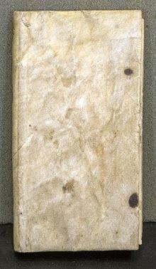Plain vellum cover of Ars de Statica Medicina.