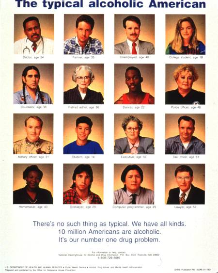 A poster with the portraits of 16 people, four rows of four, from various racial/ethnic and socioeconomic backgrounds.