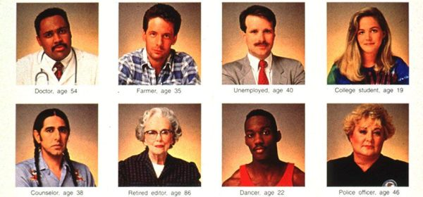 Detail from a poster with the portraits of 8 people from various racial/ethnic and socioeconomic backgrounds.