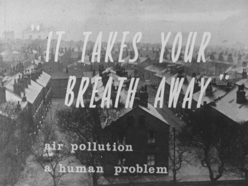 "Title screen of ""It Takes your Breath Away"" air pollution a human problem."