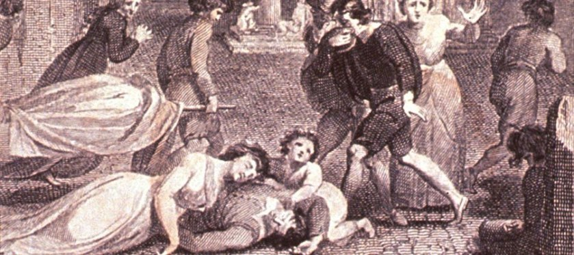An engraved illustration of people in a town square carrying shrouded stretchers, weeping over a body and expressing distress.