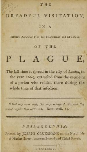Printed titlepage of a book on an account of the plague in English.