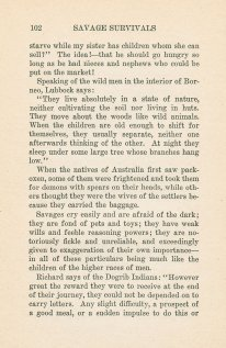 A page of text from Savage Survivals.