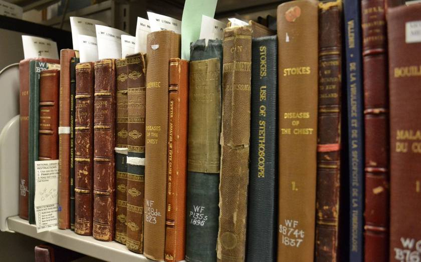 A shelf of books from the 1800s some with original leather bindings, others rebound in heavy, stiff cloth.