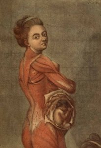 An anatomical illustration like a painting, A pregnant woman looks over her shoulder at the viewer. Her skin is stripped off and her fetus is visible.