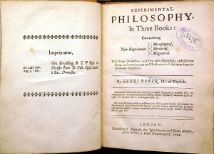 Title page of Henry Power's Experimental Philosophy