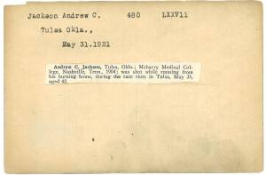 Index card, typed for Andrew C. Jackson with pasted printed text.