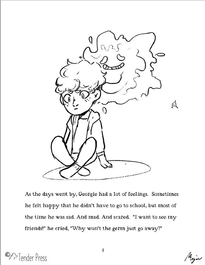Illustration outline of Georgie sitting on the floor with giant germ behind him