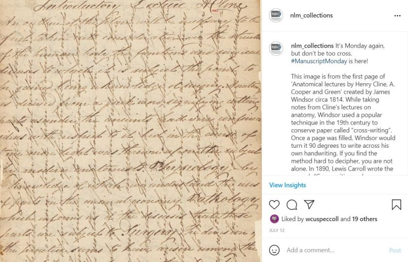 An NLM_Collections Instagram post featuring an example of crosswriting, handwriting along both horizontal and vertical lines.