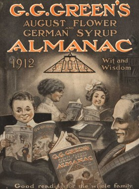 An illustration of men and women reading the almanac under an art deco lamp.