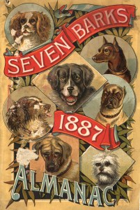 A dynamic illustration featuring the title and images of 7 dogs.