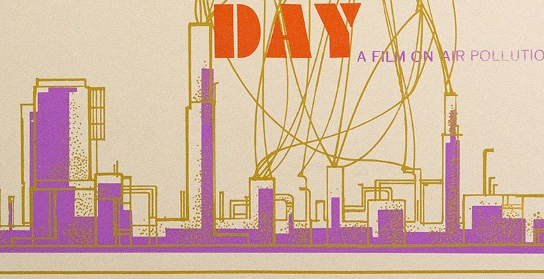 A poster graphic of a city skyline poluting the air.