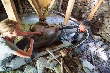 The community grinds their own wheat with this water powered mill. They pass the knowledge about how to repair the mill from generation to generation.