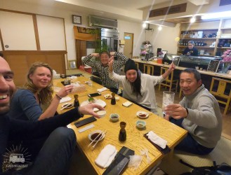 The TV-crew joins us again when we start our Hokkaido adventure. Nice sushi diner to discuss our plans, tomorrow we leave!