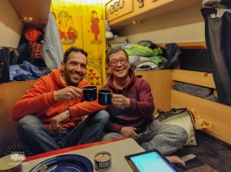 Great evening with beers, instant noodles and intersting stories. Japanese style campervan, so no chairs, but just a multi purpose floor. Thank you Jun for the nice evening!