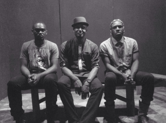 Playwright Kobby Graham (C) with sound creator Steloo (R) and attendee Yaw P (L)