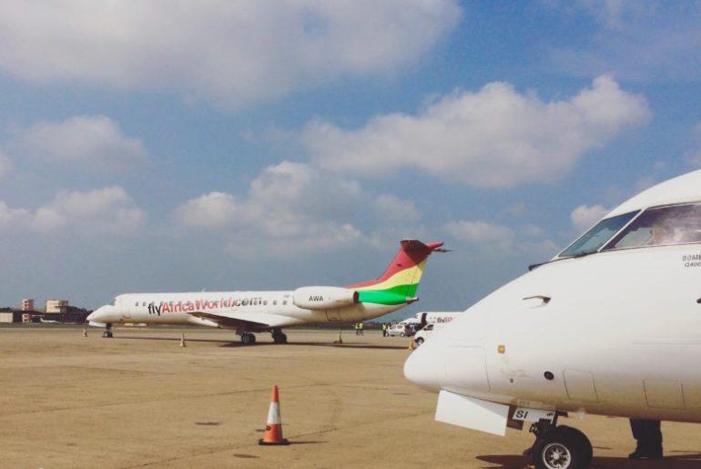 Regional Airline Africa World Airlines at Ghana's Kotoka International Airport. Photo by Jemila Abdulai