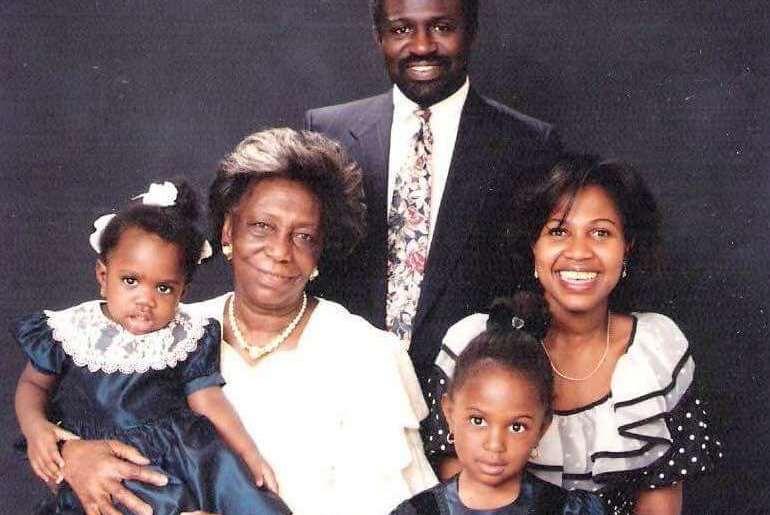 Ghana history buff and The Nana Project Kirstie Kwarteng with parents, sister and grandma. Circa 1992.