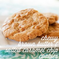chewy brown butter and salted caramel chip cookies