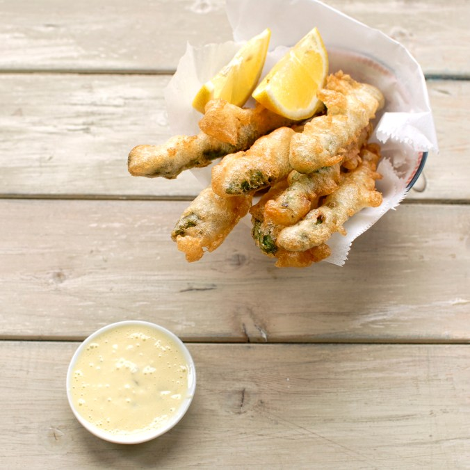 beer battered asparagus with lemon and gherkin aioli