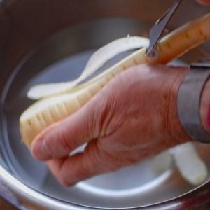 peeling parsnips