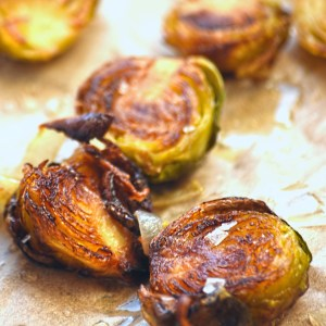 roasted Brussels sprouts and shallots with lemon and smoked sea salt