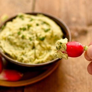 butter bean and Spring herb dip with radish