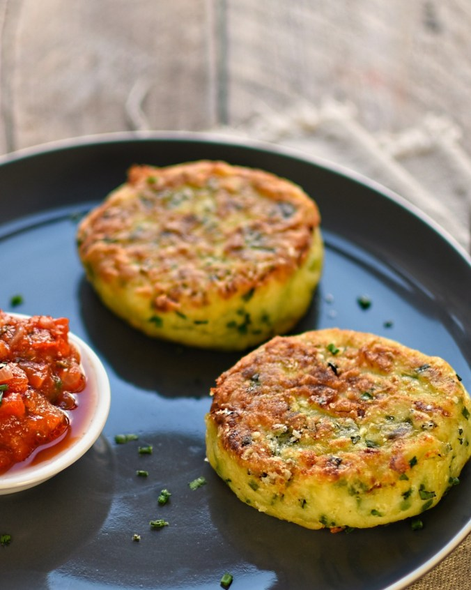 vegetarian comfort food: leek, chive and potato fritters