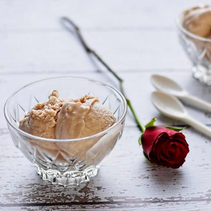 rose petal and rhubarb ice cream