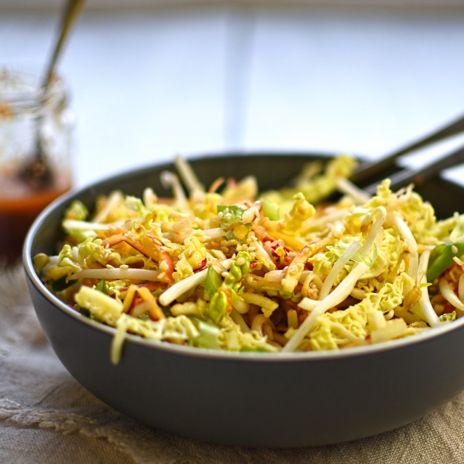 winter cole slaw with ginger and sesame dressing