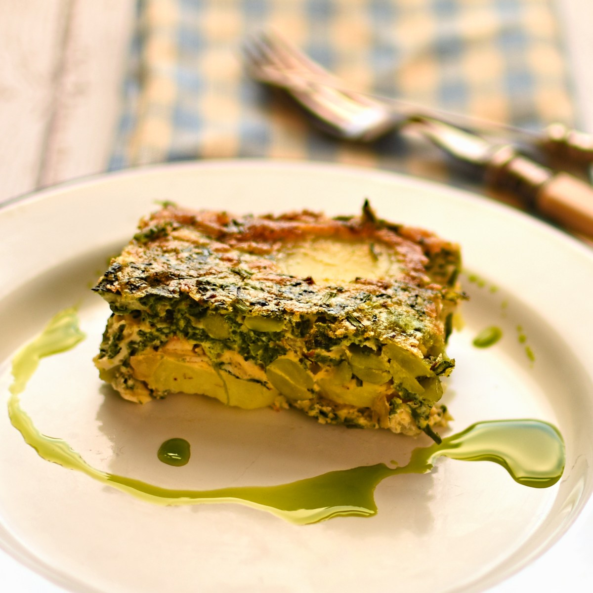 Potato Spinach And Broad Bean Frittata With Mint Oil