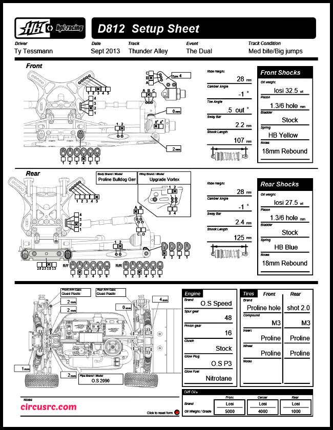 Setup HB D812 de Ty Tessmann pour la Dual race
