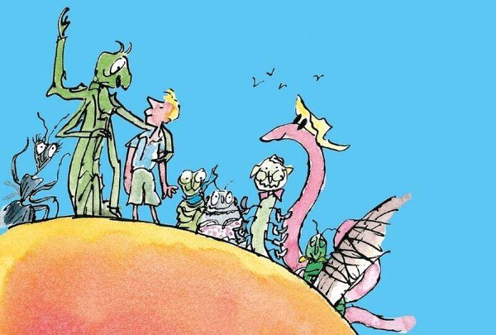 Plaatje van de reuzenperzik met allemaal stripfiguren op een grote perzik
