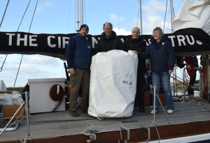 Skipper Ed, Patrick Malahide, Bill Broad and Ann Lee with No2jib