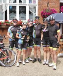 Athlon Riders taking a break at The Chequers