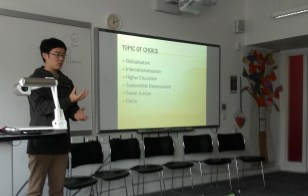 """Bowen Xu presenting """"Globalisation and its impact on Chinese Higher Education Development: Opportunities, Challenges and Dilemmas"""""""