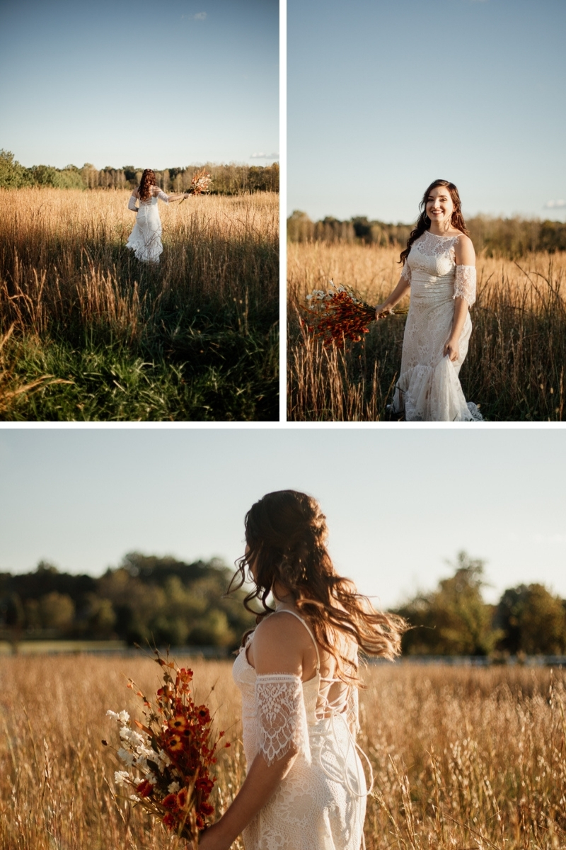 boho bride during golden hour frolicking in the sunset in pittsboro nc by cirque91 photograpy