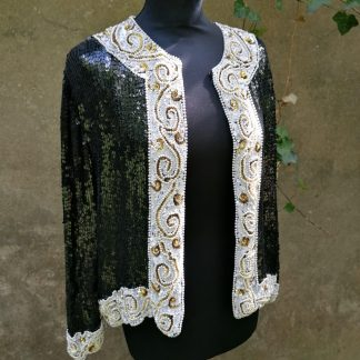 Frank Usher Silk Sequin Jacket, 1.02 black, white, gold fully embroidered,front 3