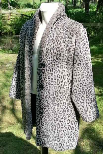 Grey Snow-Leopard Faux Fur Coat, U.FAUX2.01, side 1