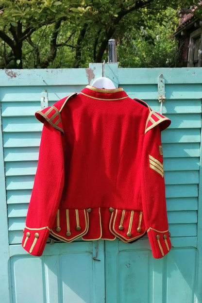 Scottish Red Military Drummer Doublet Jacket, 1.01 back