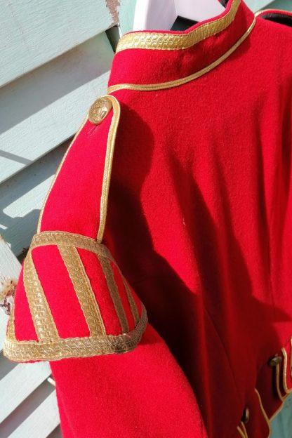 Scottish Red Military Drummer Doublet Jacket, 1.01 top, back&shoulder